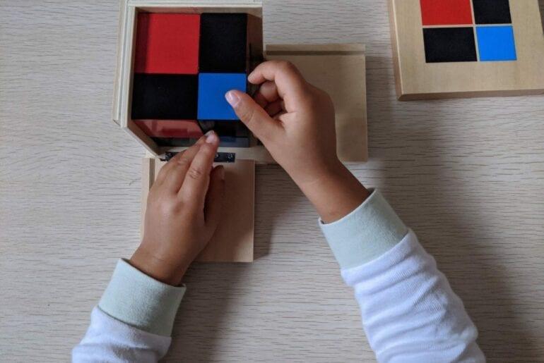 cubo de binomio montessori