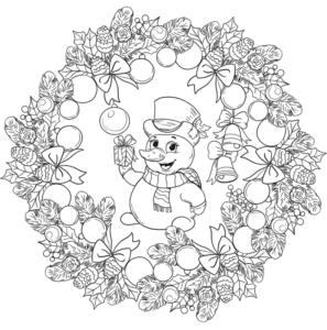 mandala com boneco de neve para colorir
