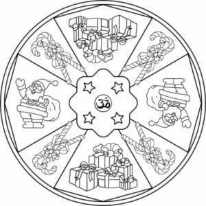 mandala com simbolos de natal para colorir