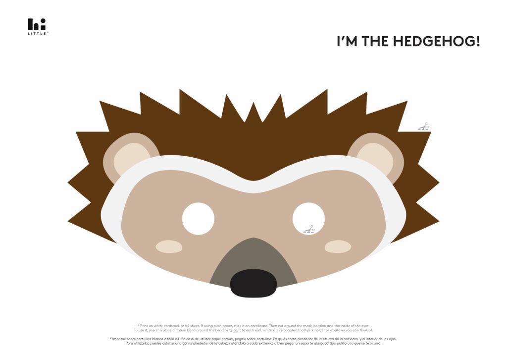 mascaras de animais para imprimir ourico