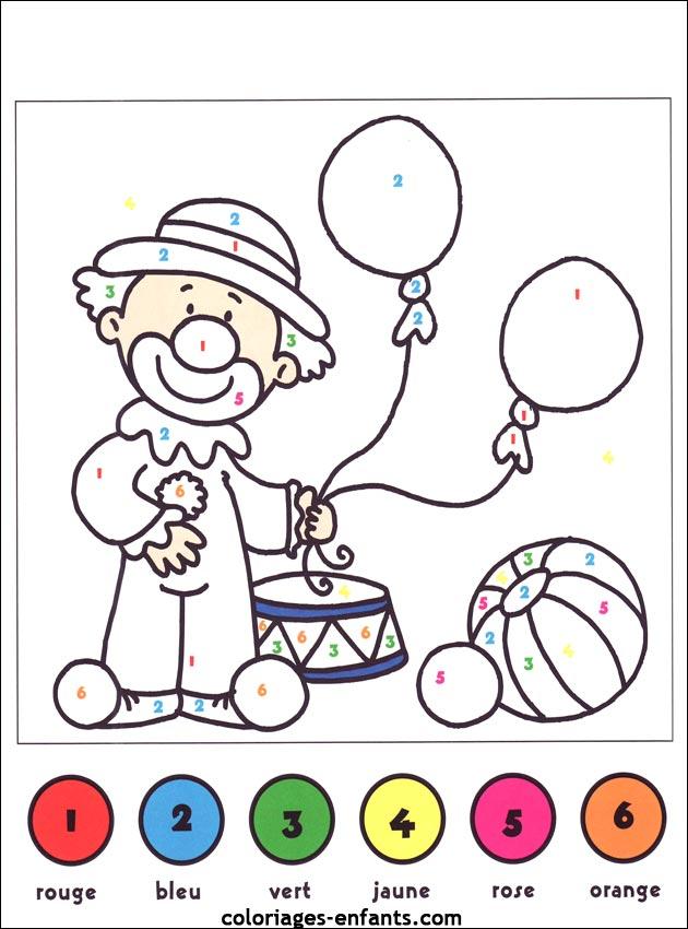 colorir por numeros palhaco