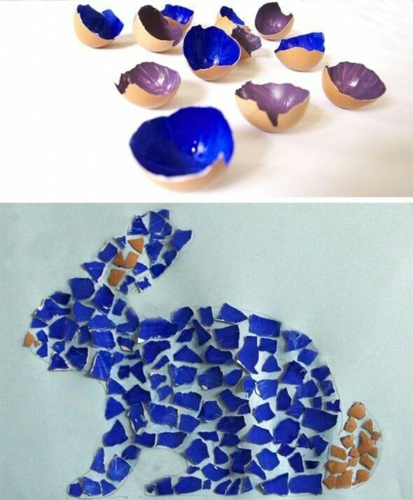 mosaico com casca de ovo para a pascoa