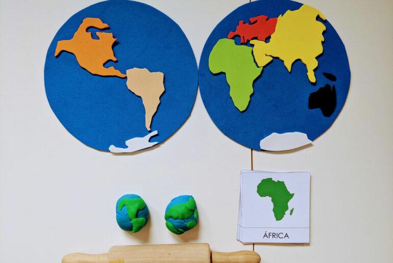 atividade com mapa planisferio para educacao infantil