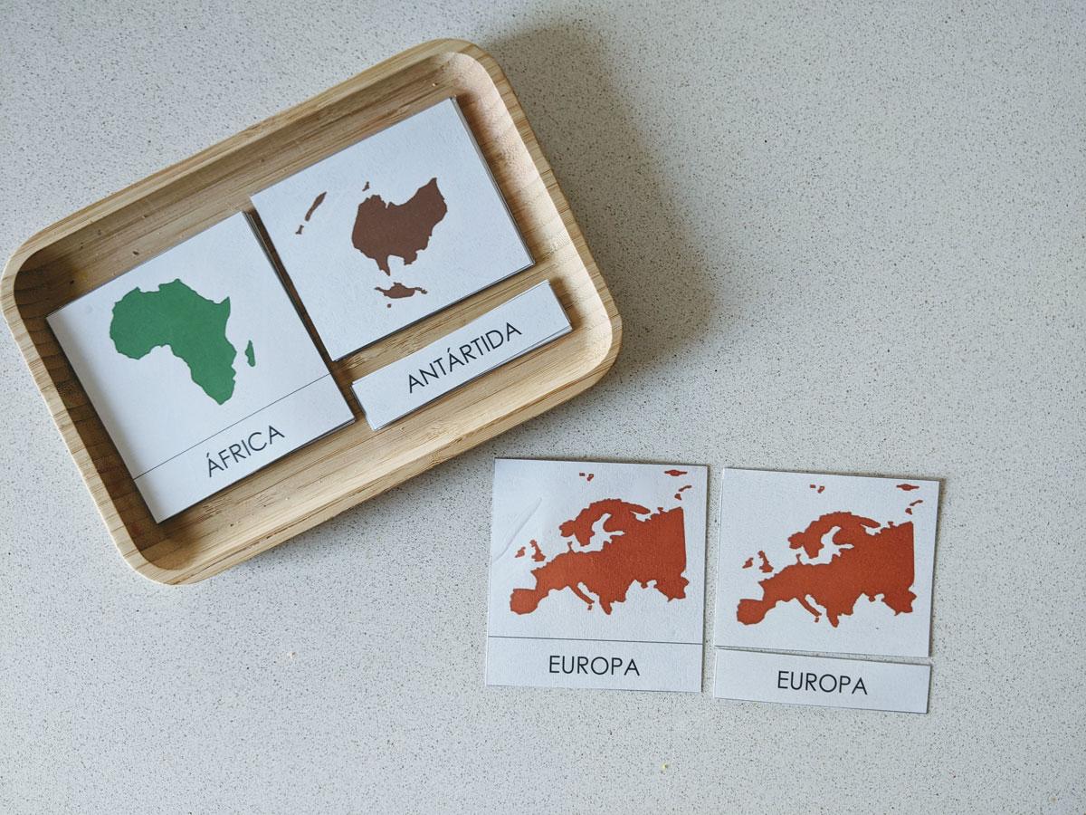 Atividade continentes alfabetização