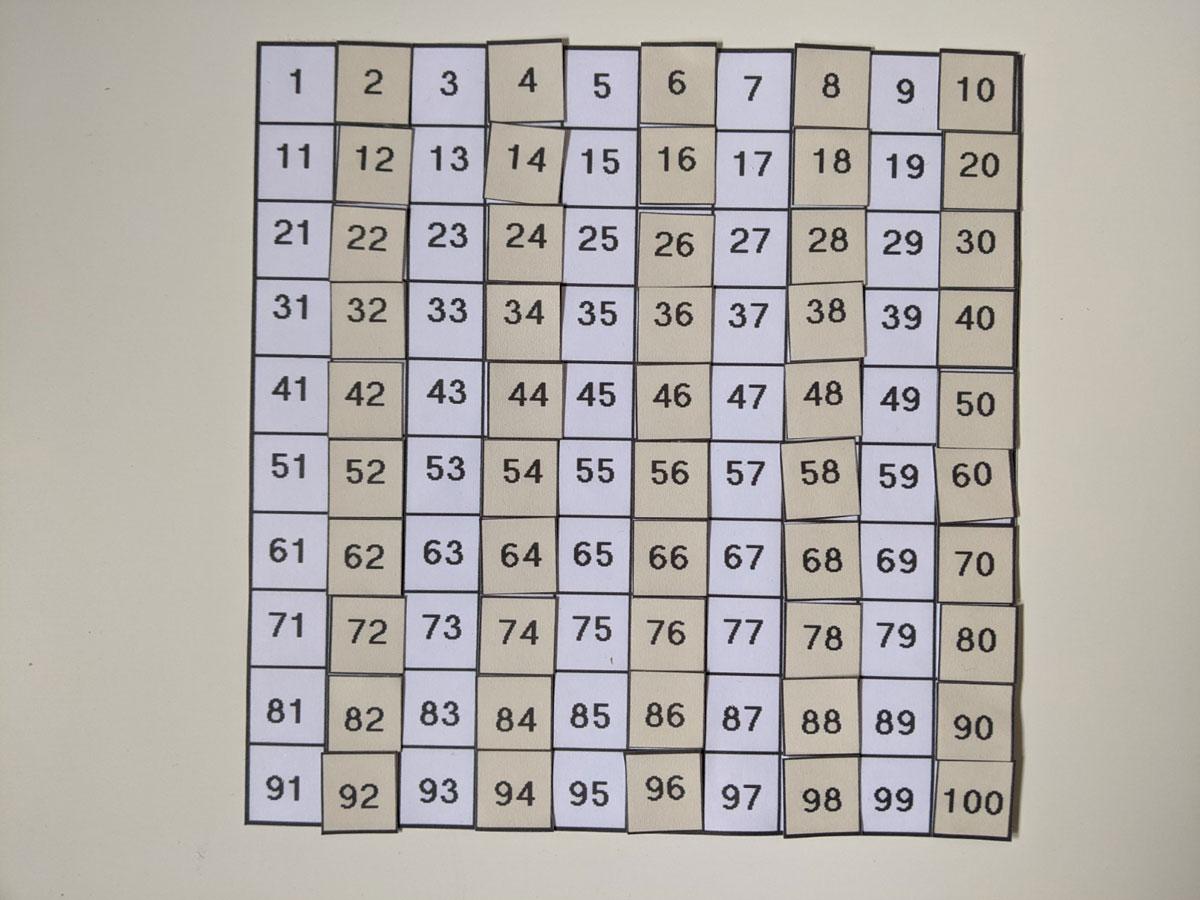 Tabela 1 a 100 - Números ímpares