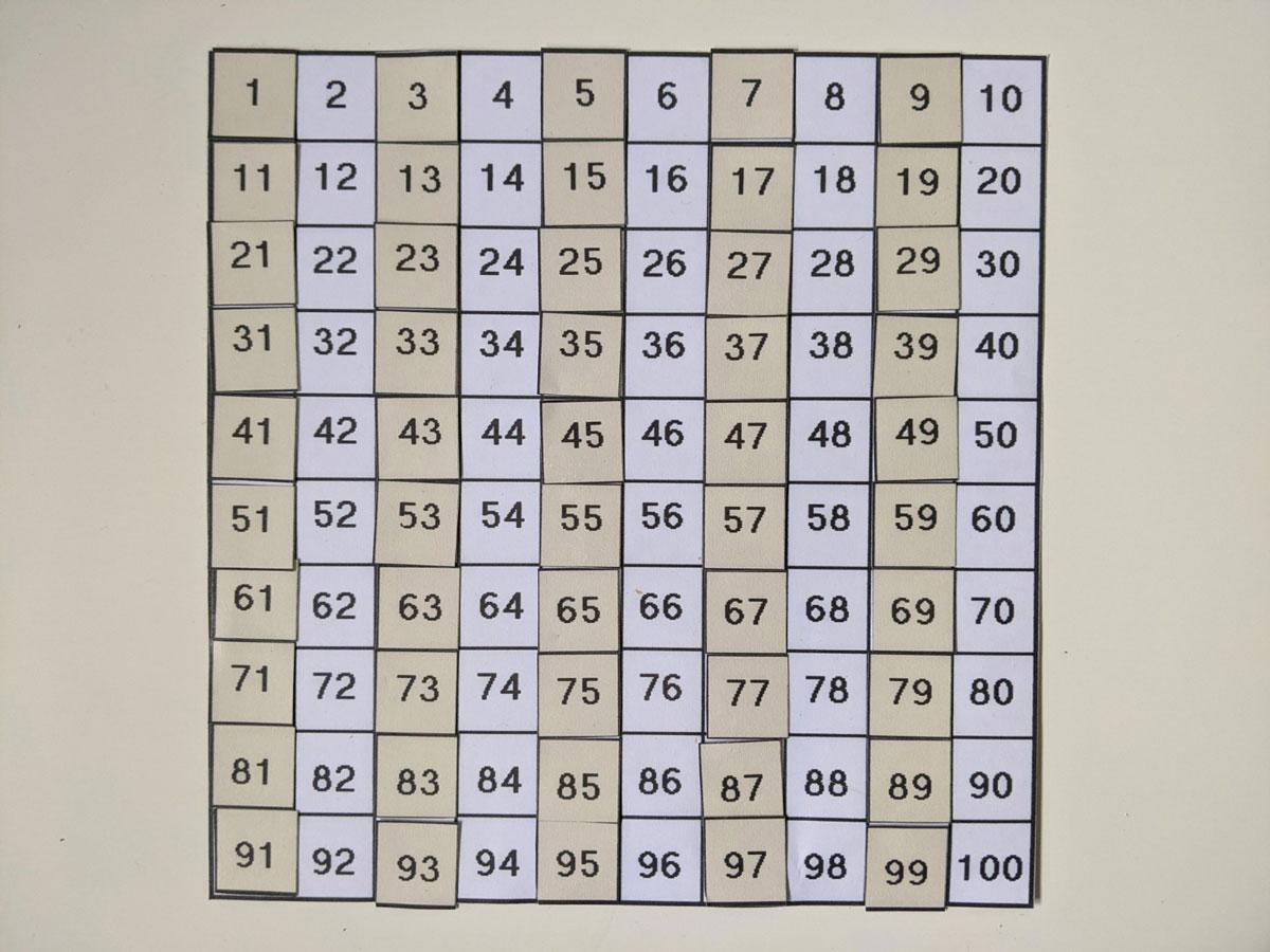 Tabela numérica de 1 a 100 - Números pares