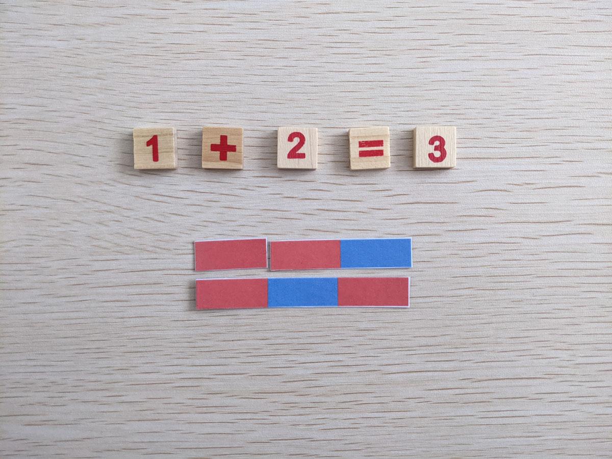 Atividade de somar barras vermelhas e azuis