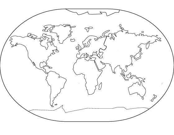 Molde de mapa mundi para imprimir